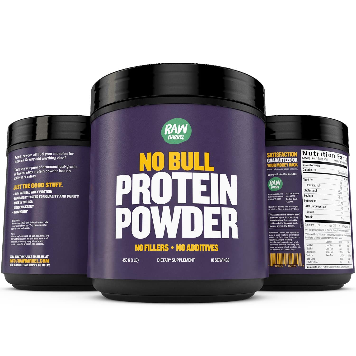 Raw Barrel's Unflavored Whey Protein Powder, 1 lb, $6.24