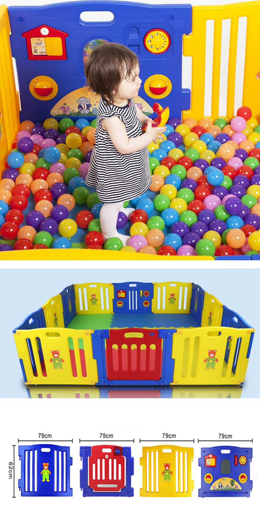 New Baby Playpen Kids 8 or 12 Panel Safety Play Center Yard Home Indoor Outdoor Pen 8 panel $78.60 12 panel $85.10