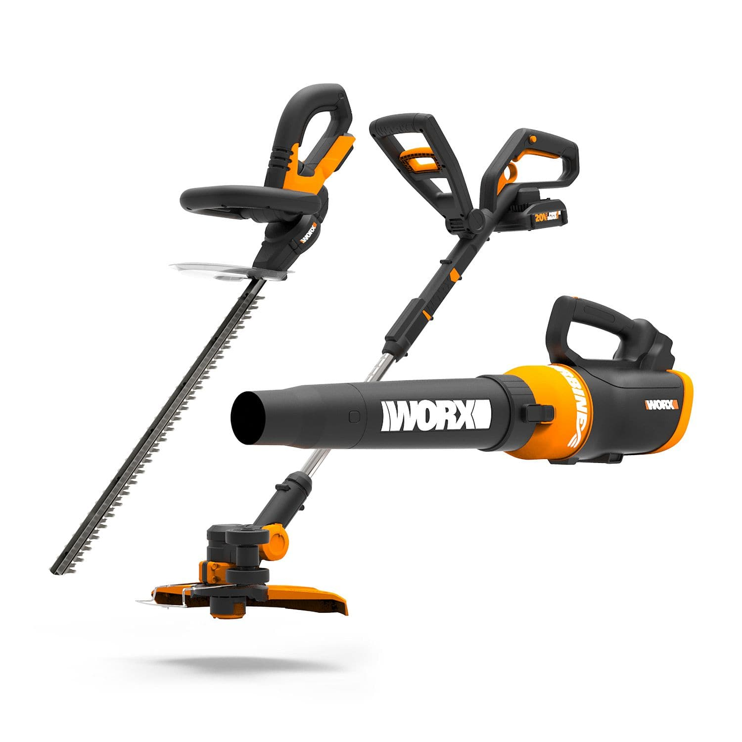 WORX 20V Li-ion 3-Piece Combo Kit (Trimmer, Hedge-Trimmer, and Blower) Inclu 2 batteries and Charger. Free shipping $159.98