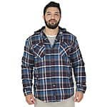 Street Moda: Burnside Men's Flannel Sherpa Button Up Slim Fit Hoodie - $24 Plus Free Shipping