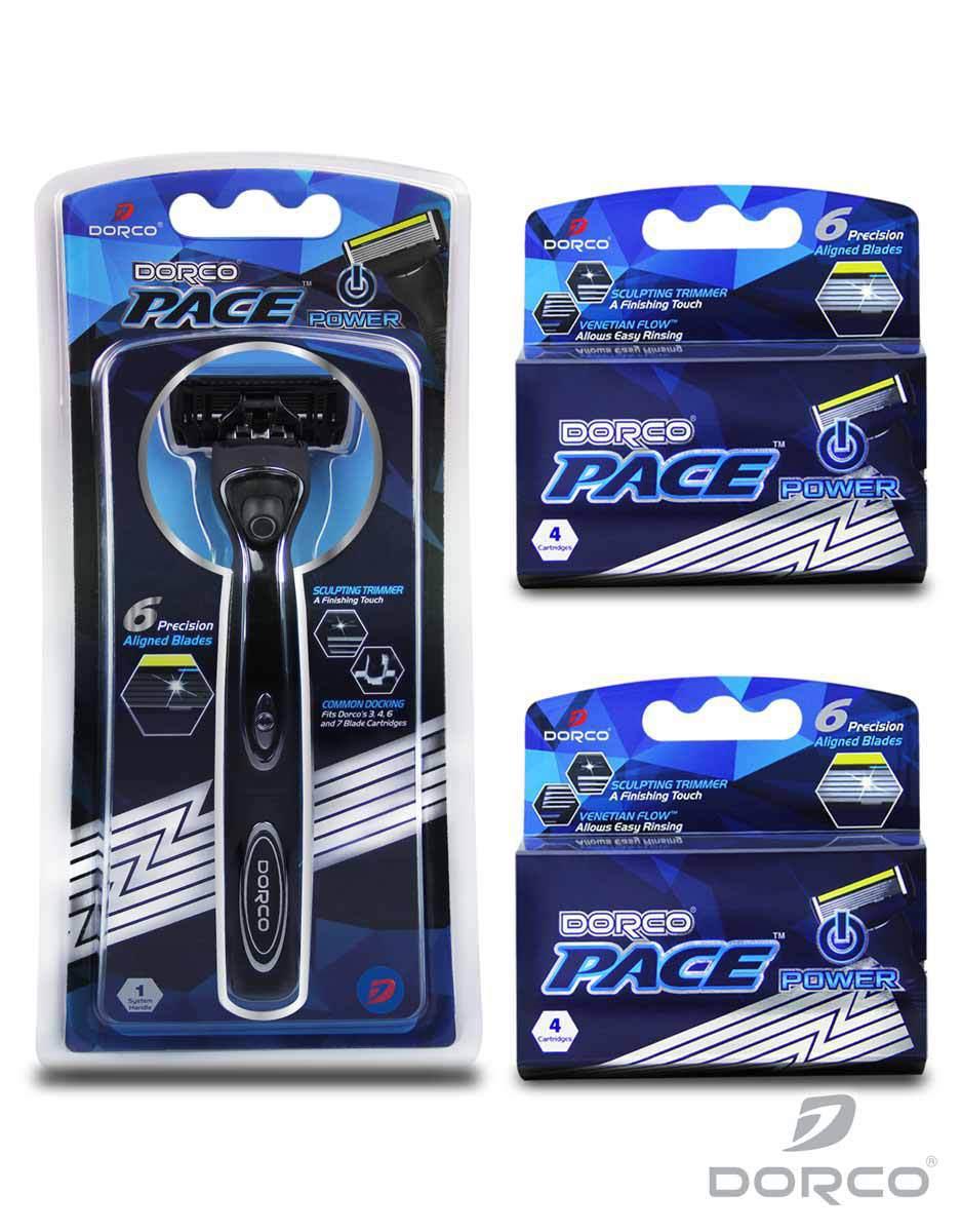 Dorco USA: Pace Power Razor Combo Set (Powered Handle + 9 Cartridges) - $14.12 Plus Free Shipping