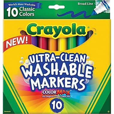 Staples: Crayola Ultra-Clean Markers (10 per Pack) - $3 Plus Free In-Store Pick-up