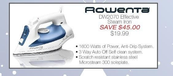 Home & Cook Outlet Black Friday: Rowenta: DW2070 Effective Steam Iron - $19.99 for $19.99