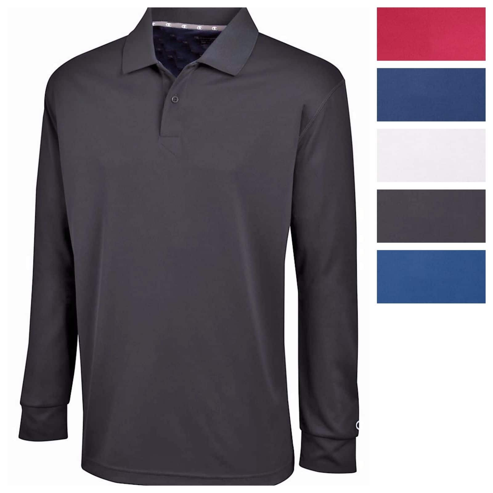 eBay: Men's Champion Ultimate Double Dry Long Sleeve Polo - $12.99 Plus Free Shipping