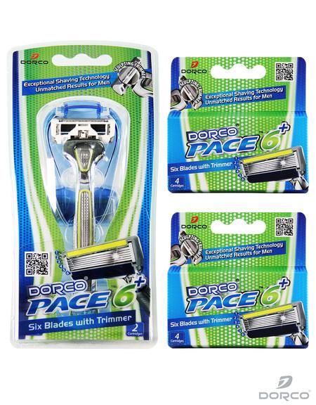 Dorco USA: Men's Pace 6 Plus Razor Combo Set (1 Handle + 10 Cartridges) - $12.90 Plus Free Shipping