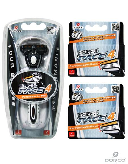Dorco USA: Men's Pace 4 Combo Set (1 Handle + 10 Cartridges) - $9 Plus Free Shipping