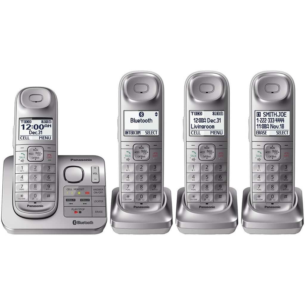 MassGenie: Panasonic Link2Cell Expandable Cordless Phone with 4 Handsets (Refurb) only $59.99 after Coupon, F/S