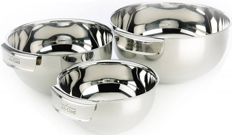 Home & Cook: All-Clad Set of Three Mixing Bowls (Second Quality) Stainless Steel - $55.94 Shipped