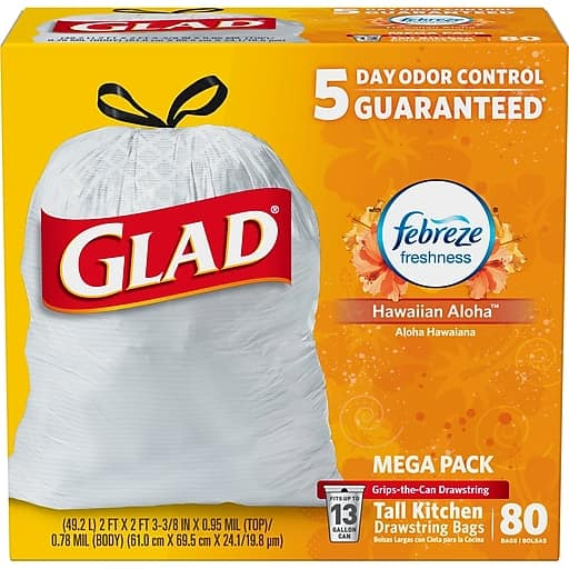 Staples: Glad OdorShield Tall Kitchen Drawstring Trash Bags (Hawaiian Aloha) - $9.99 Plus Free In-Store Pickup After $6 Rebate