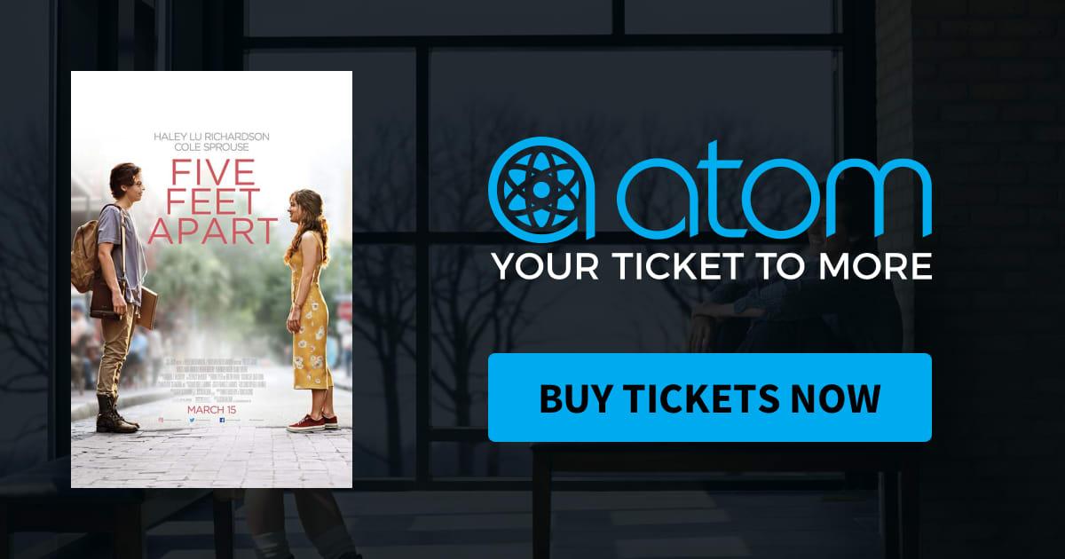 Buy one get one free five feet apart through atom tickets