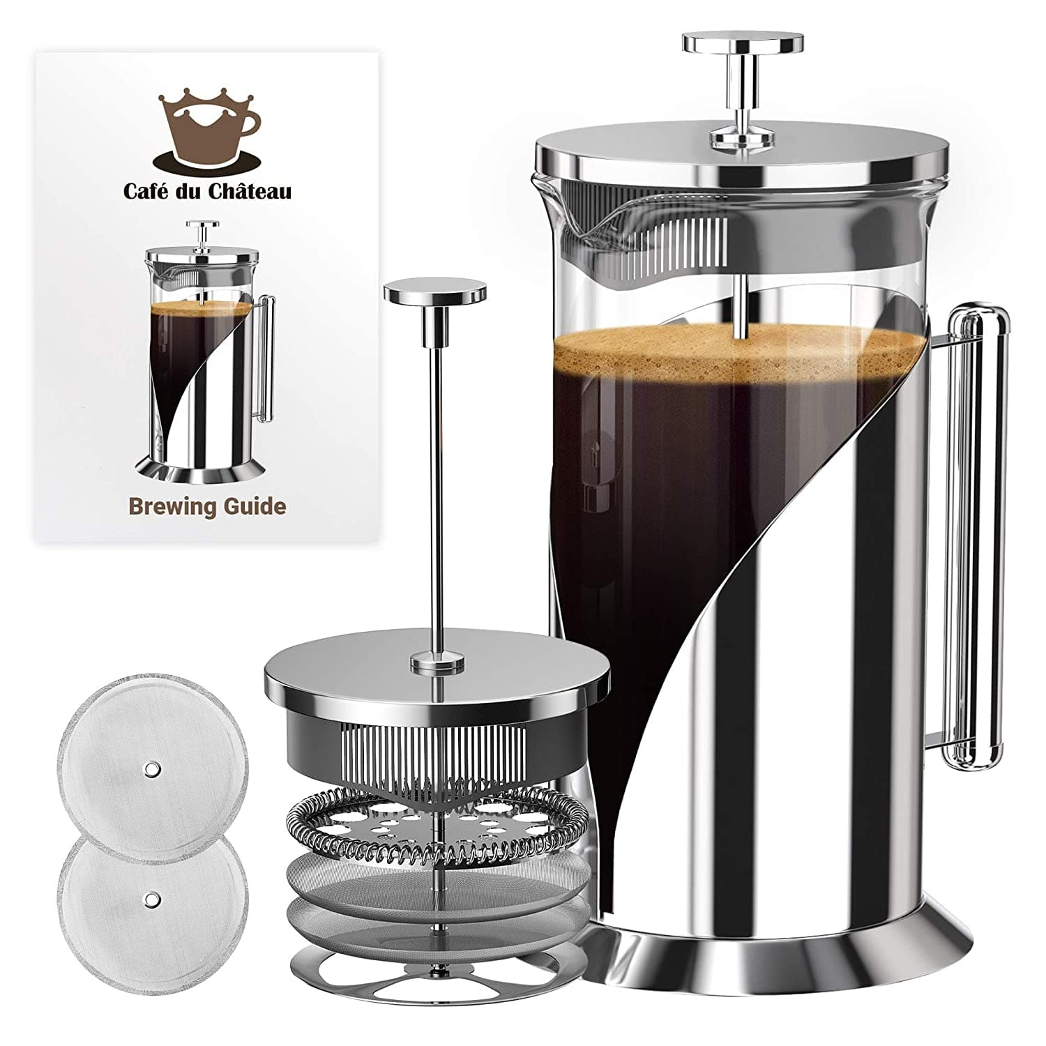 French Press Coffee Maker (34 Ounce) with 4 Level Filtration System - 304 Grade Stainless Steel - Heat Resistant Borosilicate Glass (40% off) $16.17