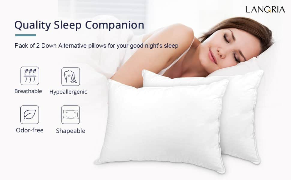 2-Pack Down Alternative Bed Pillows (Queen) AC $17.49 @Amazon FS Prime