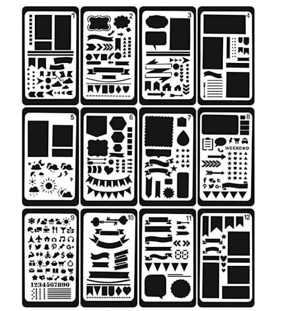 GEOTEL Bullet Journal Stencil 12 Pcs $6.5 AC @ Amazon