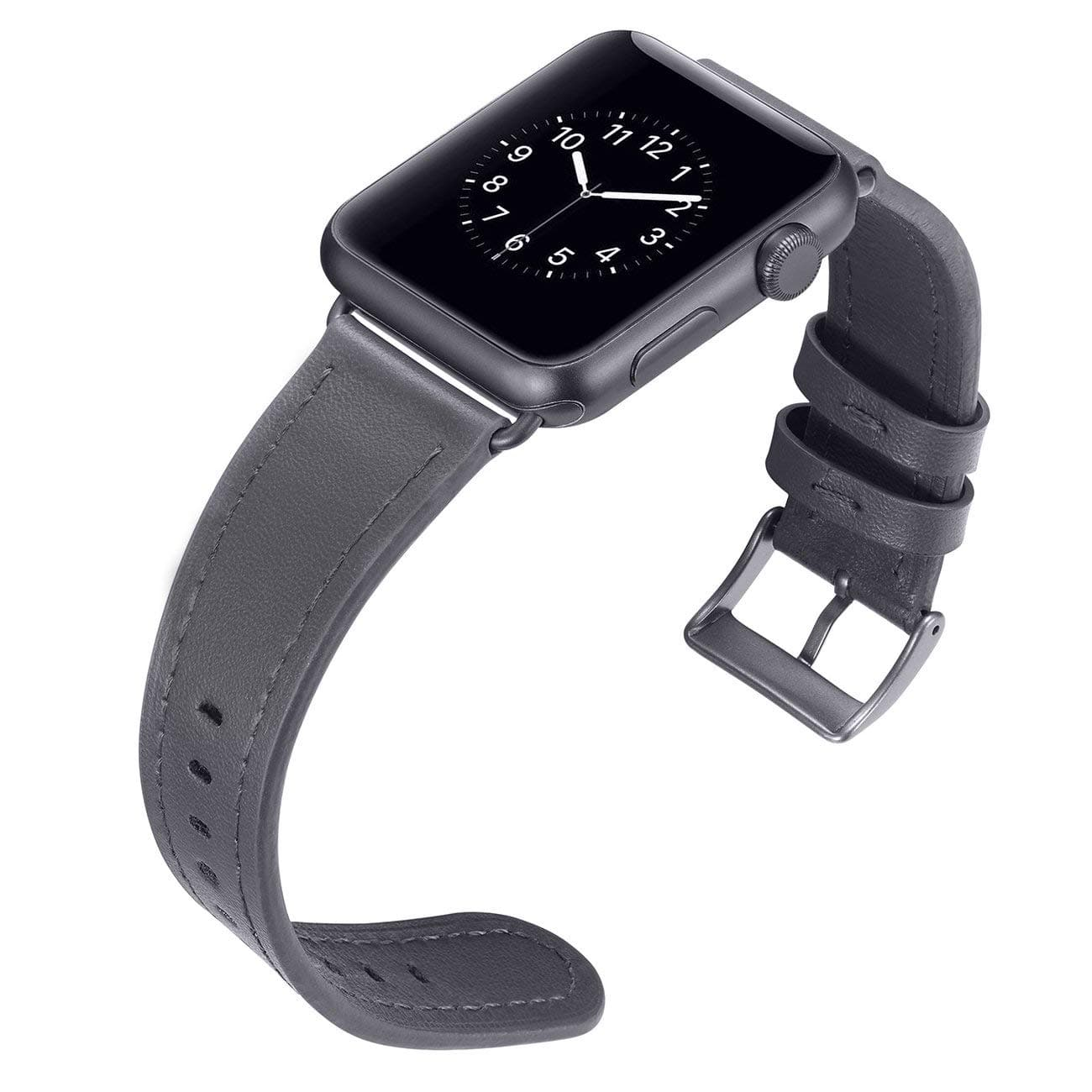 Apple Watch Series 1,2,3 Genuine Leather Band 42mm Space Gray $3.99 @Amazon