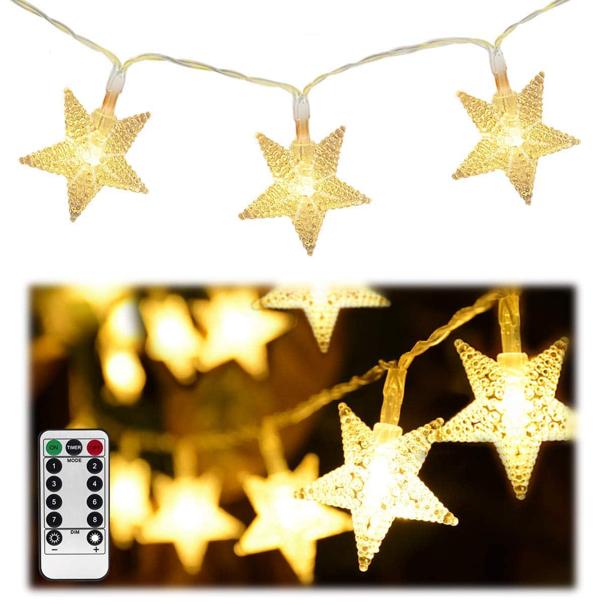 Homeleo 50 LED Warm White LED Twinkle Star Fairy Lights w/Remote Control $6.99 AC @Amazon