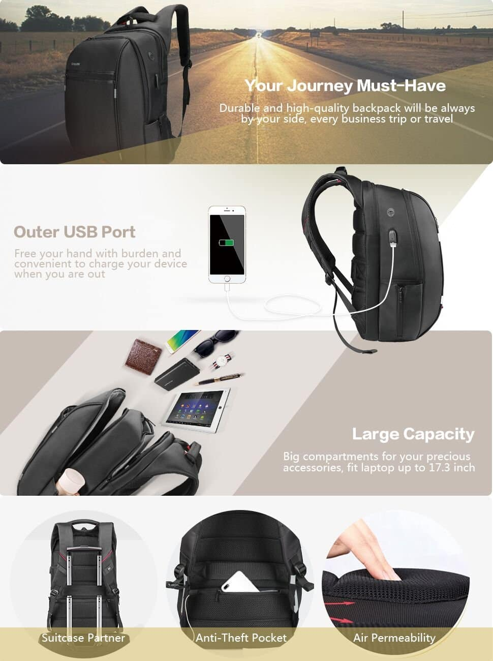SPARIN Laptop Backpack For Up to 17.3-Inch Laptops and Tablets w/ USB Charging Port - $12.99 + Free Shipping