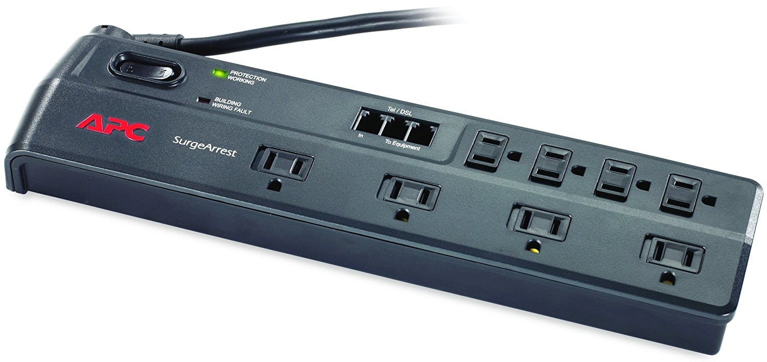 APC 8-Outlet Surge Protector with Telephone and DSL Protection(P11VT3) $13.99 @Amazon