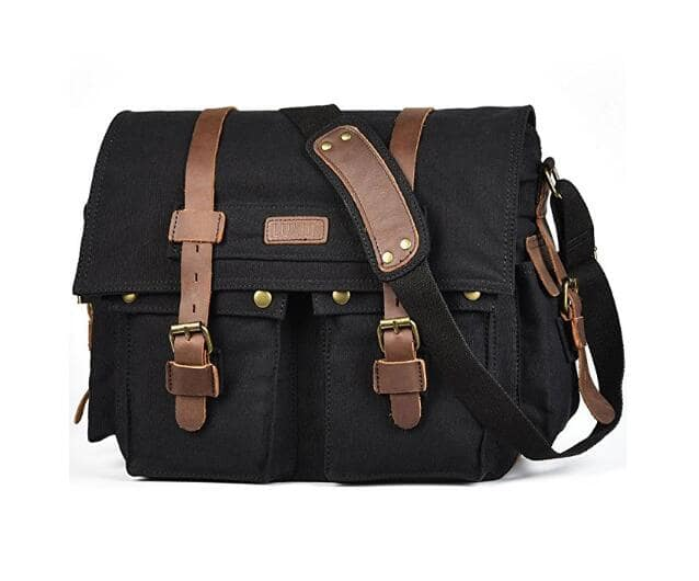 Military Satchel Messenger Bag Vintage Canvas Travel Bag for 15 Inch Laptop $11.69