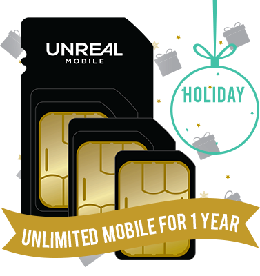 Unreal Mobile: BYOD SIM Kit with 1 Year of Unlimited Talk, Text, and Data w/ 1GB LTE for $89