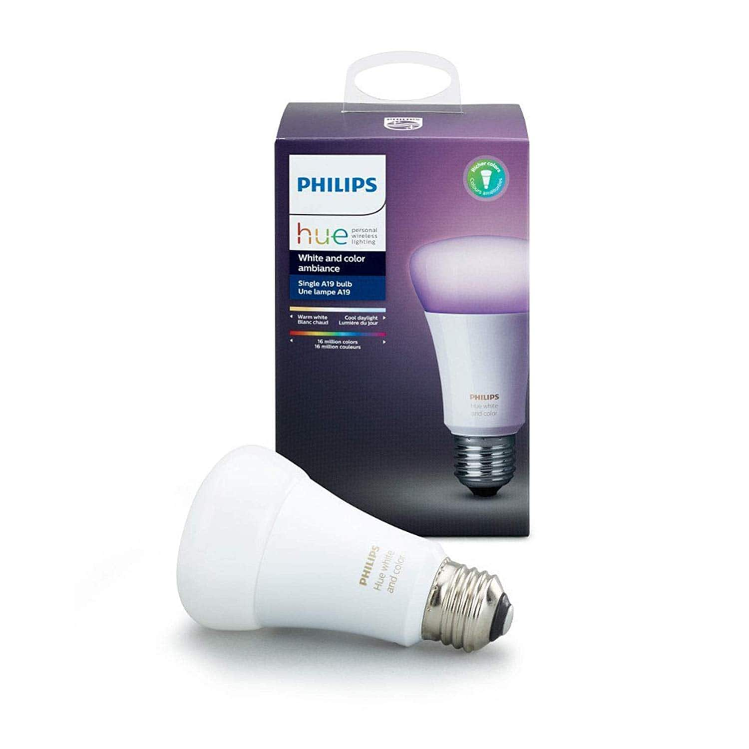 Philips Hue Color Ambiance A19 60W Equivalent Dimmable LED Smart Bulb Compatible with Amazon Alexa, Apple HomeKit, and Google Assistant [Standard] $35.97