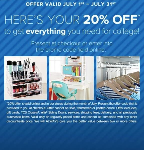 20% off coupon @ The Container Store in July