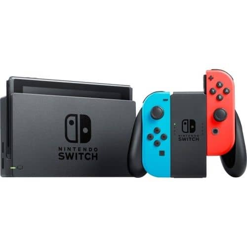 Nintendo switch with neon blue and neon red joy-con $249.99