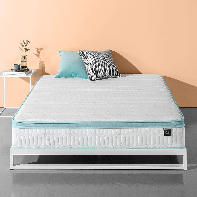 Zinus 10 Inch Mint Green Memory Foam Hybrid Spring Mattress, Queen - $166 FS