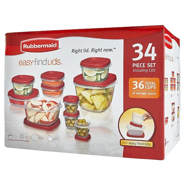 34 Piece Rubbermaid Food Storage Container Set Red Slickdealsnet