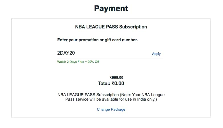 NBA League Pass 0 Rupees Using Promo Code and VPN