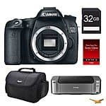Canon EOS 70D DSLR Camera, 32GB, Printer Bundle $698 (Body),  $798 (18-55mm STM), or $998  (18-135mm stm) AR