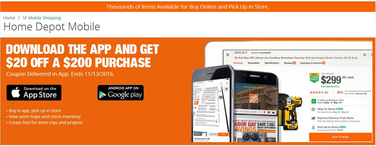 Home Depot - $20 OFF A $200 PURCHASE with APP INSTALL - YMMV
