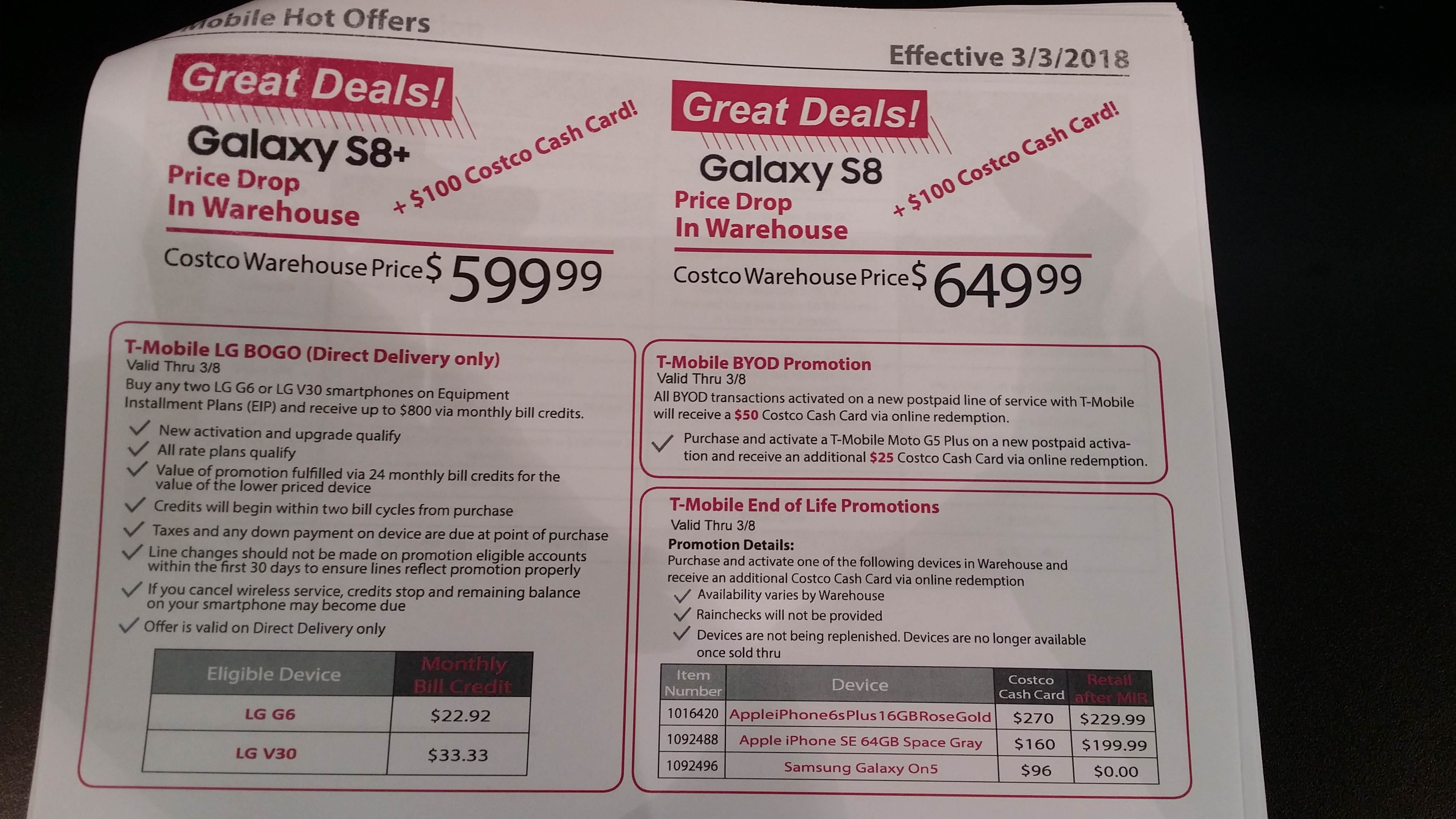 Costco Wireless T-mobile Samsung Galaxy S8 Plus $499.99 ($599.99 +$100 Costco Cash Card in warehouse only)