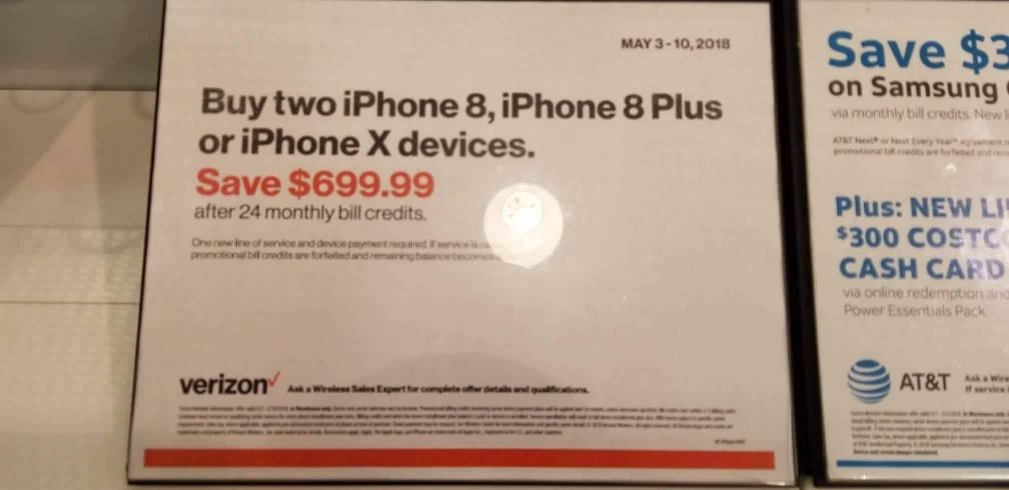 Costco In-Store: Verizon iPhone 8, 8+, or X Buy Two save $699 via bill credit May 3-10th *One line must be new*