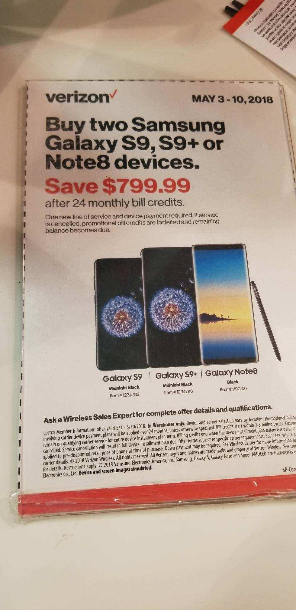 Costco In-Store: Verizon Samsung Galaxy S9, S9+, or Note8 buy two and save $799 in bill credits. *One line must be new*