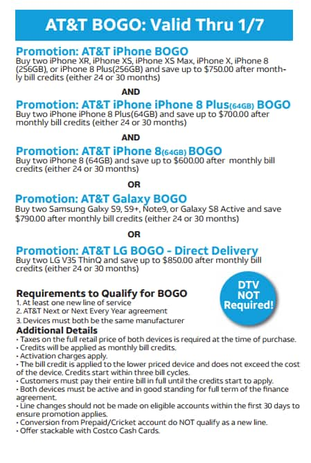 Costco In-Store Offer: AT&T IPHONE BOGO (Bill Credit) + $150 Costco Cash + Activation fee rebate Jan 2-6 *New line required*
