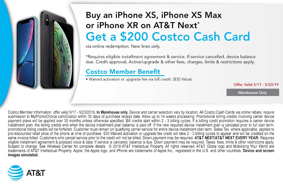 Costco In-Store Offer: AT&T IPHONE/SAMSUNG BOGO (Bill Credit) + $200 Costco Cash per device *New line required*