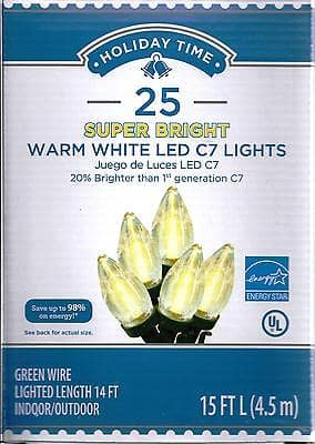 LED Christmas Lights  - C7 Super Bright Warm White Bulbs, 25 Count $2.78