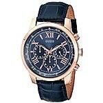 GUESS Men's Iconic Rose Gold-Tone Stainless Steel Watch With Blue Leather Band. Amazon for $59.16