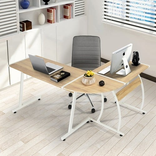 GreenForest Office Desk L-Shape Corner Computer PC Table Workstation 3-Piece for Home,Oak [Oak] $66.79