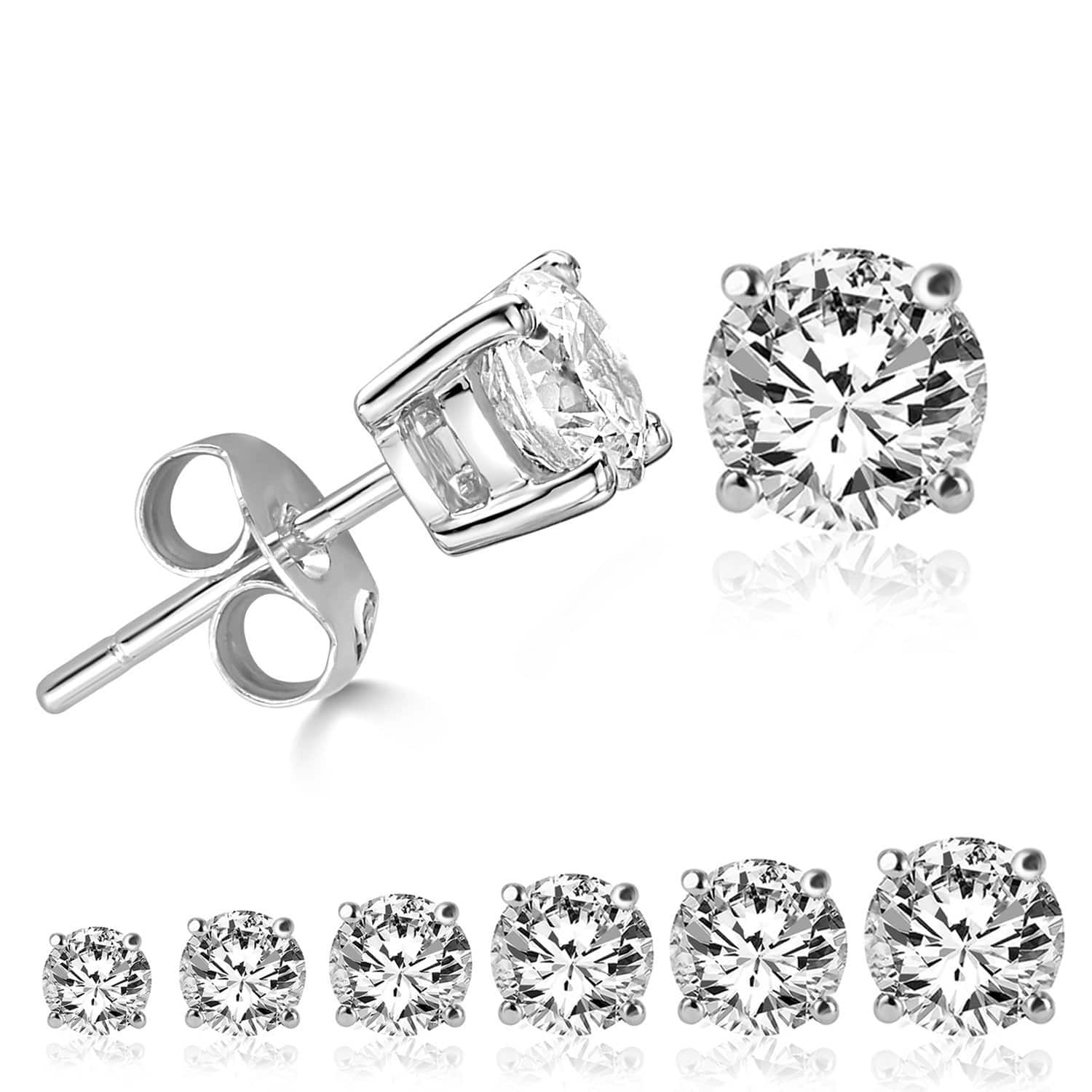 LIEBLICH Women's Round Cut Cubic Zirconia Stainless Steel Earrings Studs Plated White Gold, 3 mm - 8 mm, 6 Piece $8.99