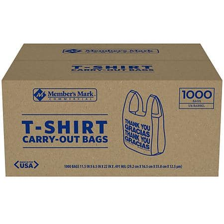 Sams Club has 1000ct 'Thank You' T-Shirt Bags for 11.98 w/ free pick up or w/ F/S for plus or for a 0.98 shipping.