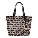 Michael Kors Jet Set Monogram Signature Logo Tote in Beige and Black - $99.99 FS ebay