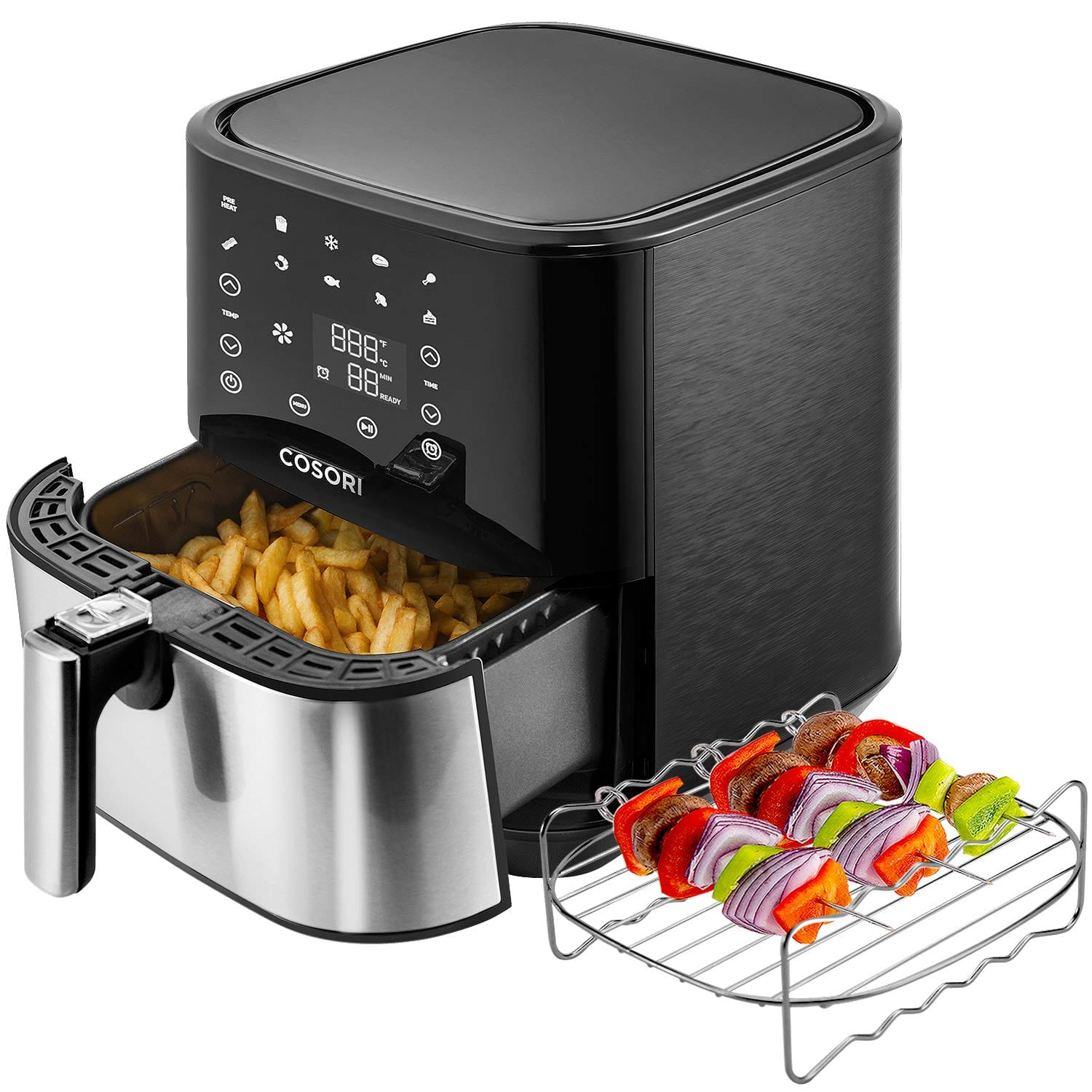Lightning deal - COSORI Stainless Steel Air Fryer 5.8Qt 9 Presets Nonstick Basket $96.20