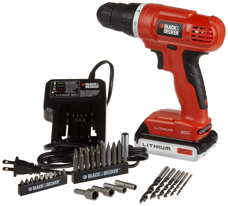 BLACK+DECKER 20V MAX Cordless Drill / Driver with 30-Piece Accessories (LD120VA) $44