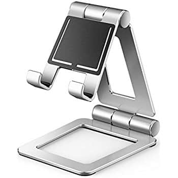 [Live Deal] Cell Phone Stand, Adjustable Tablet Stand, Universal Dual Foldable iPhone, Switch, iPad,Samsung, Nexus, iPhone X, -Silver $10.26