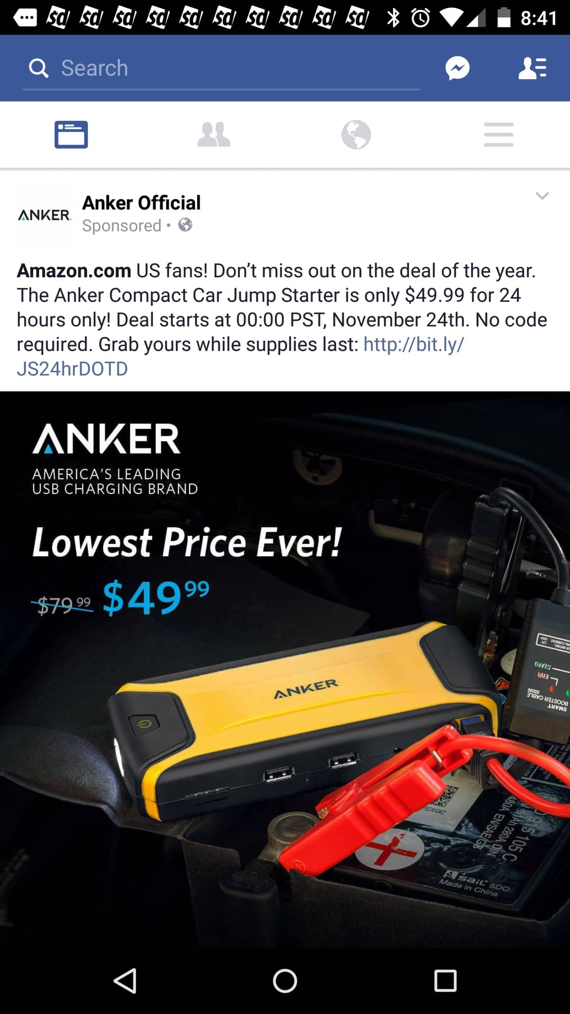 [Ultra Compact] Anker Compact Car Jump Starter and Portable Charger Power Bank with 400A Peak Current, Advanced Safety Protection and Built-In LED $49.99 @ Amazon Deal Of The Day