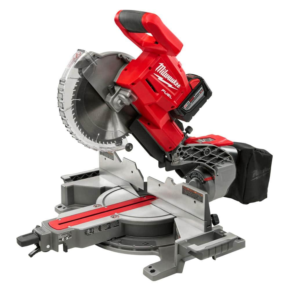 Buy Milwaukee M18 10 in. Dual Bevel Sliding Compound Miter Saw Kit get a M18 Rocket LED Stand Light with Free 5.0Ah Battery kit free (In store only) $599
