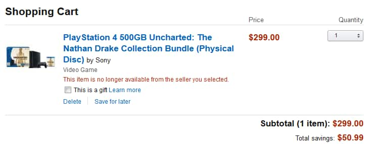 PlayStation 4 500GB Uncharted: The Nathan Drake Collection Bundle $299 + Free Shipping from Amazon