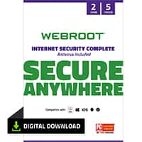 Webroot 2 year 5 devices Internet Security & Antivirus $44.95