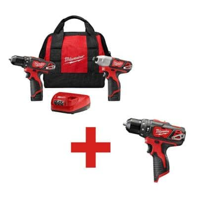 M12 12-Volt Lithium-Ion Cordless Drill Driver/Impact Driver Combo Kit with Free M12 3/8 in. Hammer Drill - $149 + FS